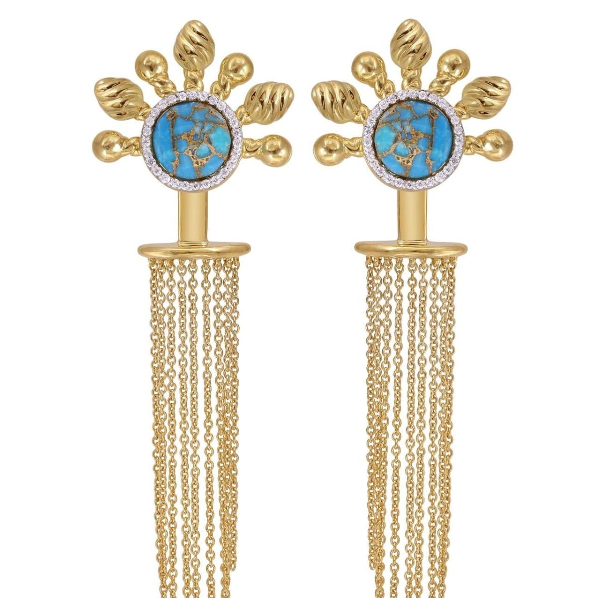 Floating Rays Detachable Turquoise Chandelier Earrings