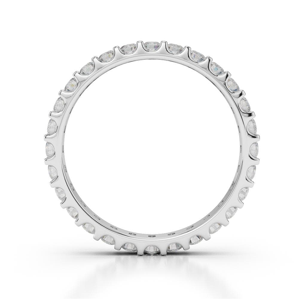 18kt White Gold Full Eternity Ring With Round-Cut, Claw-Set Diamonds