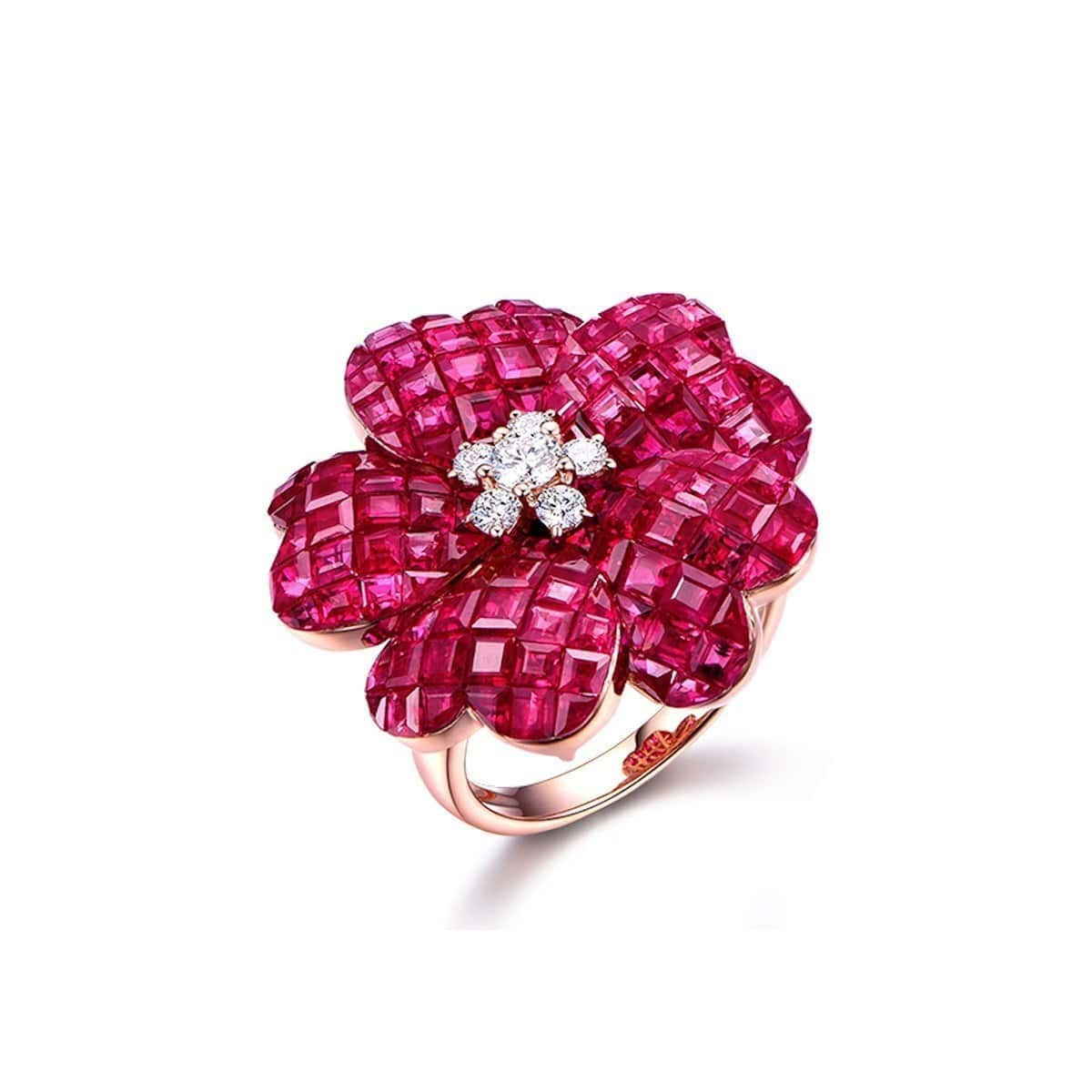 Ruby Flower Cocktail Ring