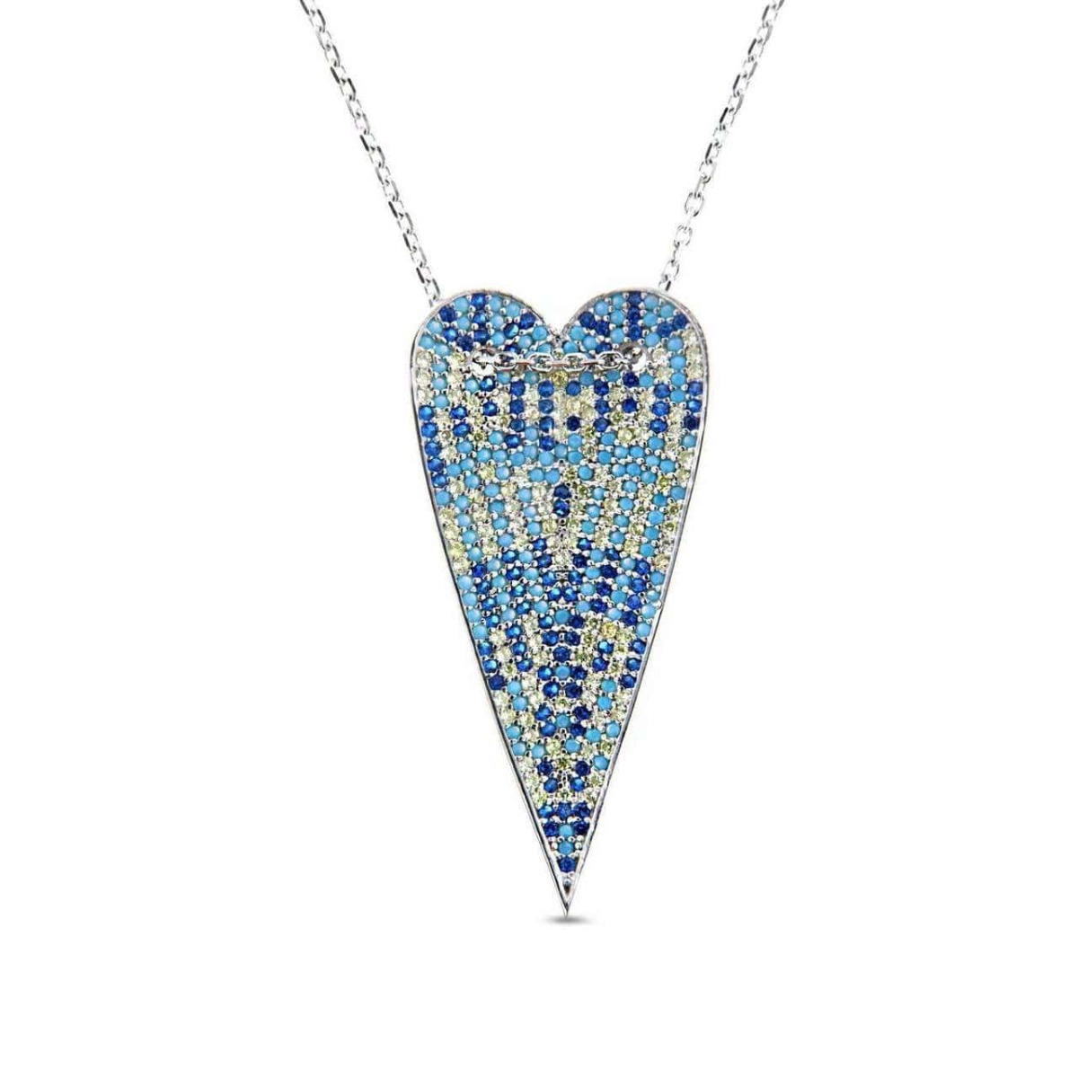 Rhodium Plated Multicolor Long Heart Necklace