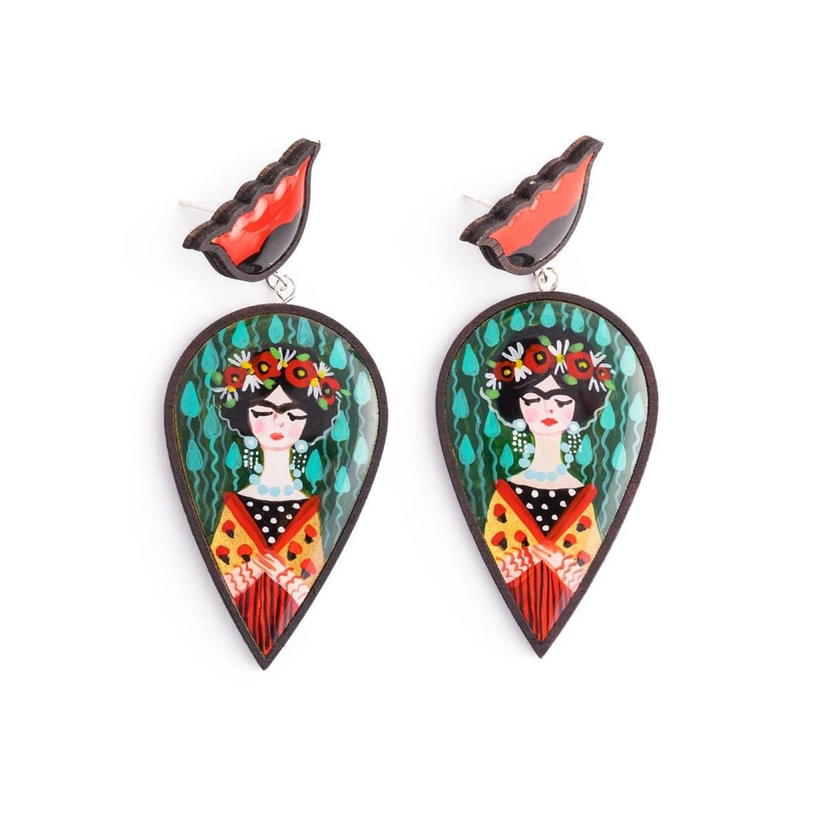 Frida Inspired Wooden Earrings