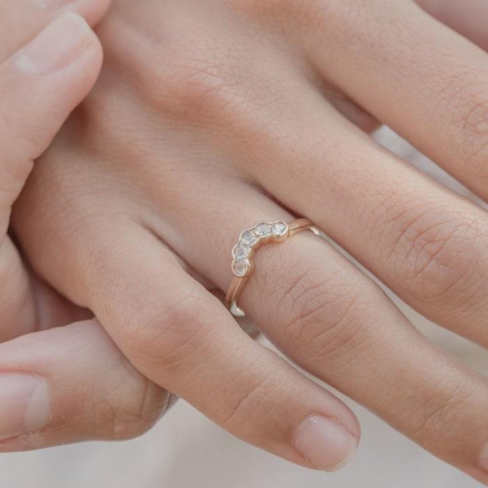 Diamond Arc Shaped Ring