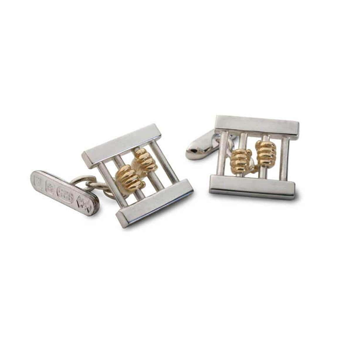 Silver & 9kt Yellow Gold Help! Cufflinks
