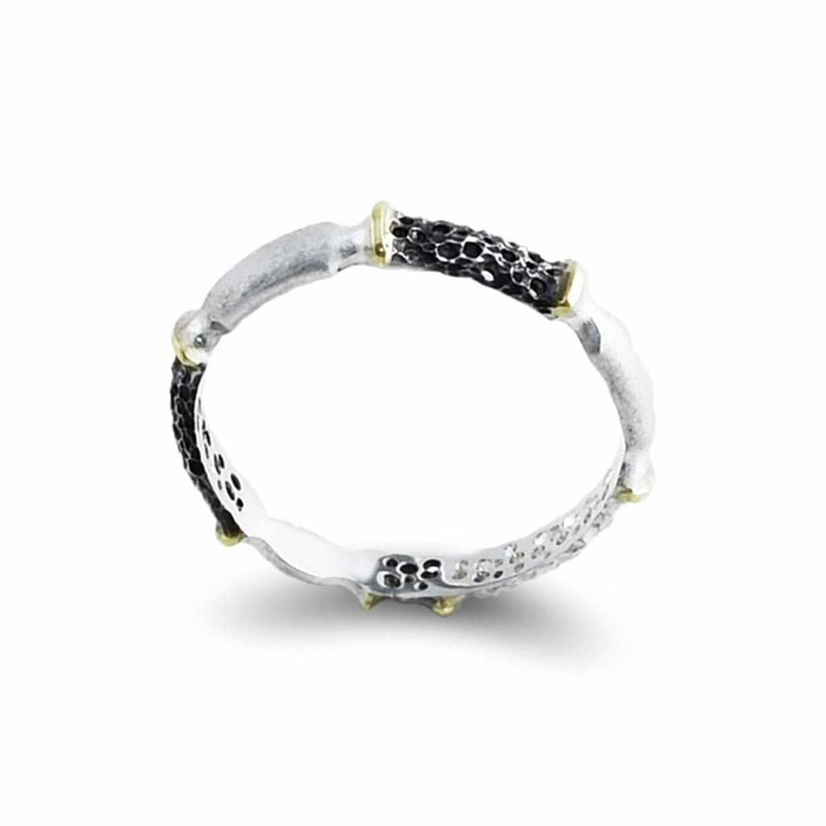 Sterling Silver & 14kt Gold Contrast Ring