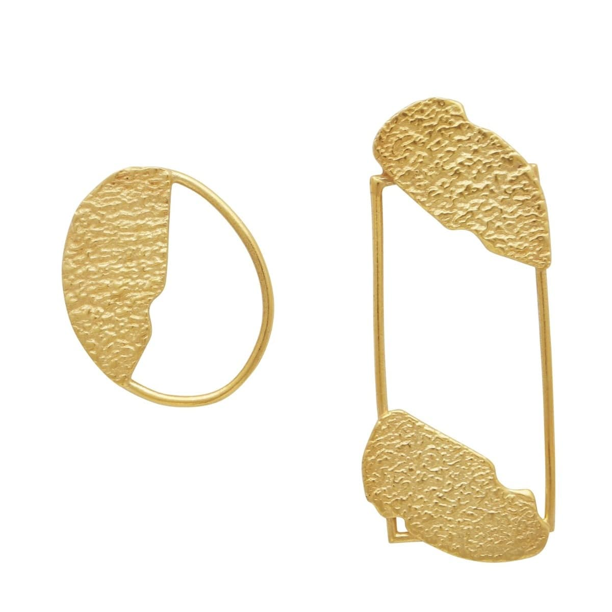 Shaped Hammered Uneven Mismatched Earrings