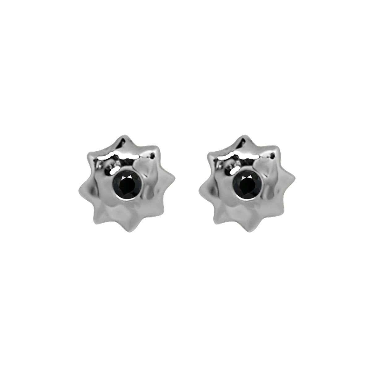 Sterling Silver & Black Spinel Moroccan Star Stud Earrings