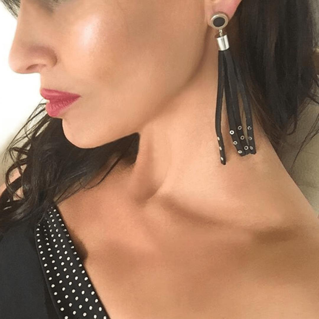 Sterling Silver & Leather Eyelet Tassel Earrings