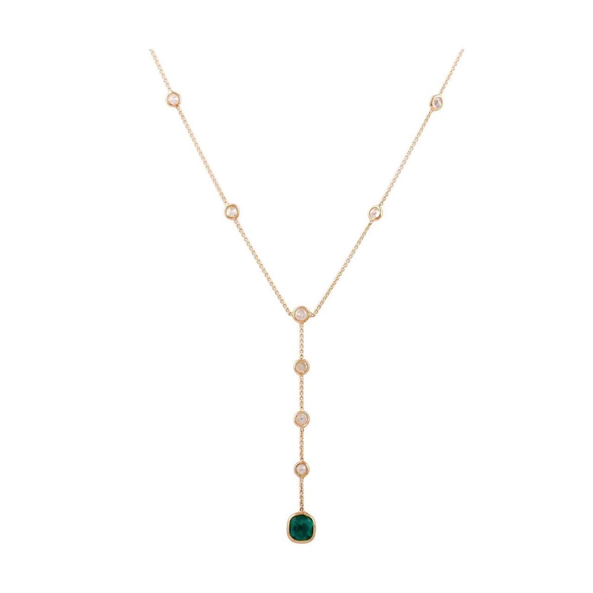 18kt Yellow Gold Emerald & Diamond Necklace