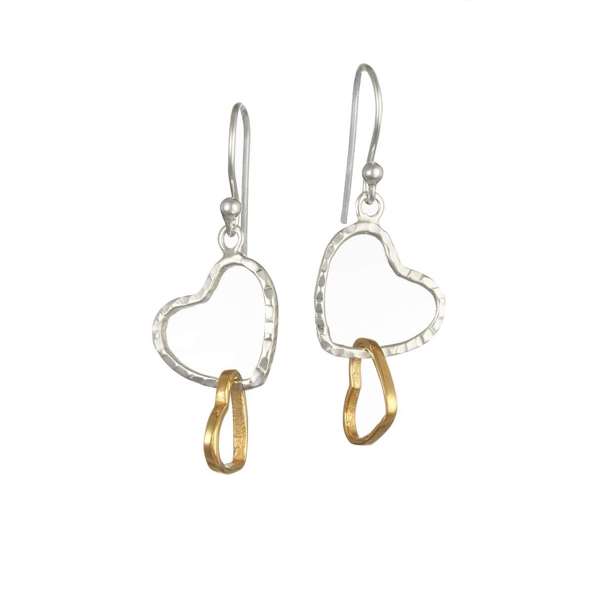 Sterling Silver & Brass Entwined Heart Earrings