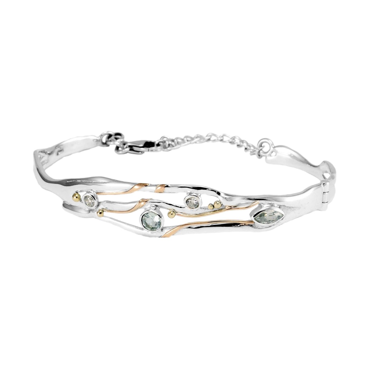Sterling Silver Blue Topaz & White Cubic Zirconia Hinged Bangle