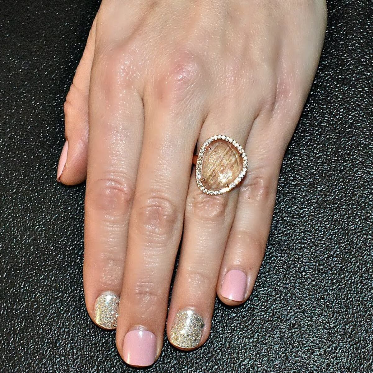 Rose Gold Plated Abstract Halo Cocktail Ring With Clear Glass Stone