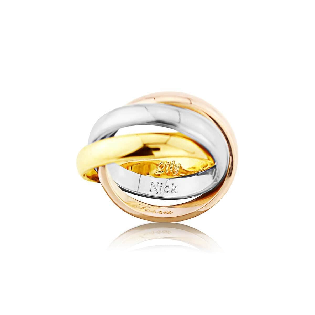 9kt Yellow, White, & Rose Gold Walton Russian Wedding Ring - 3mm