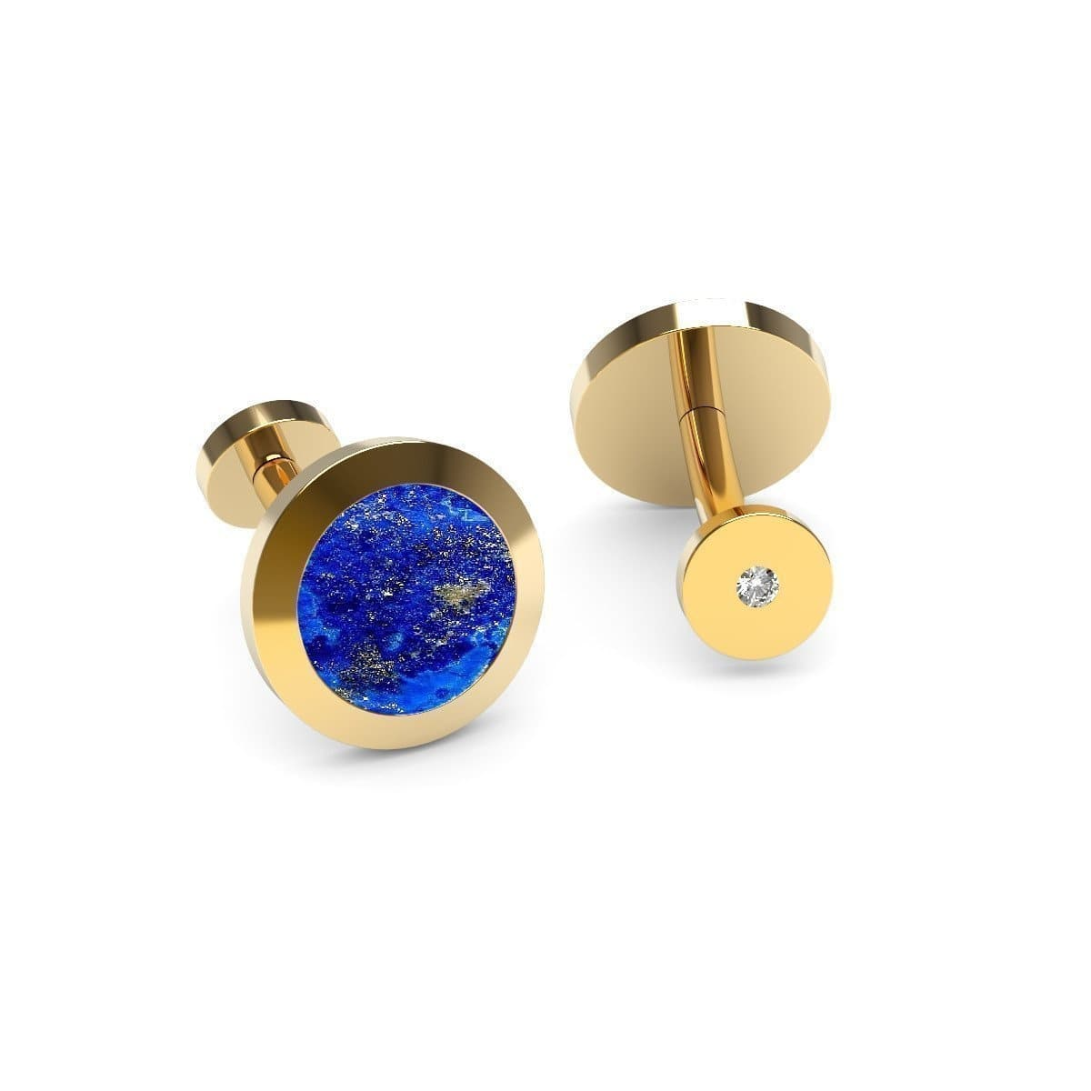 Rose Gold Plated Silver, Lapis Lazuli & Diamond Cufflinks