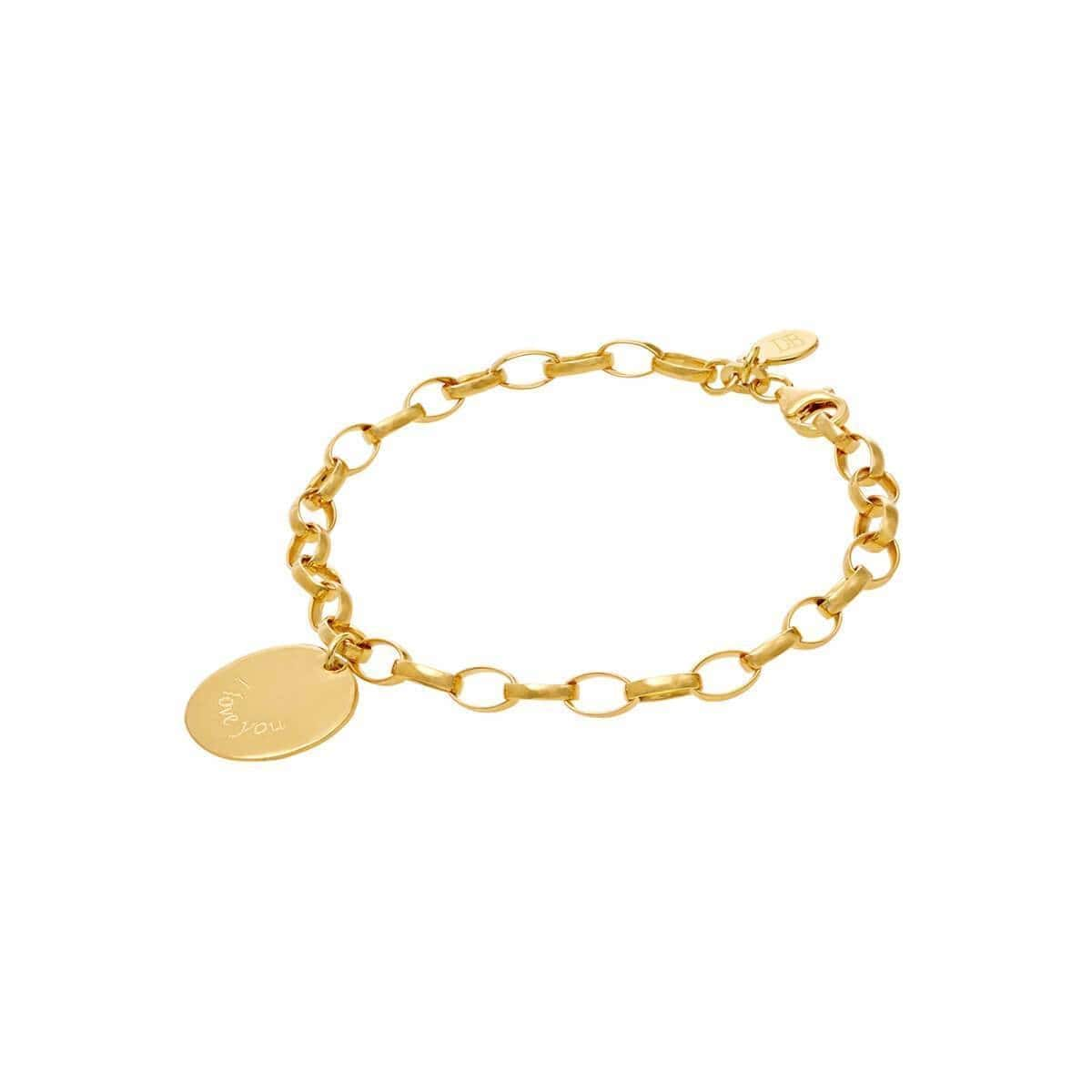 Yellow Gold Plated Personalised Disc Charm Bracelet