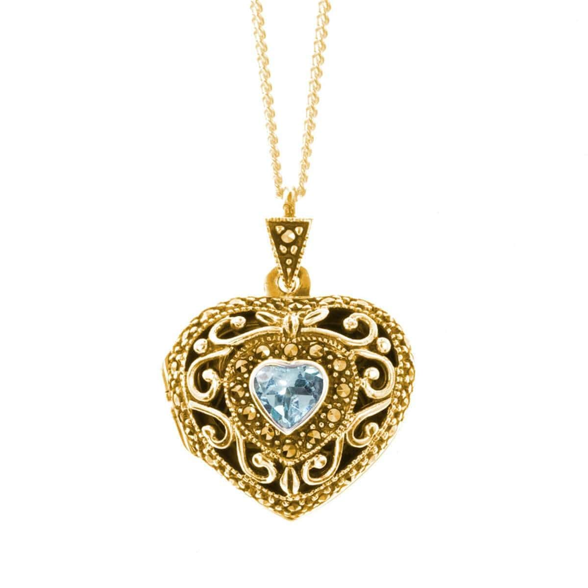Yellow Gold Vermeil Blue Topaz Vintage Heart Locket
