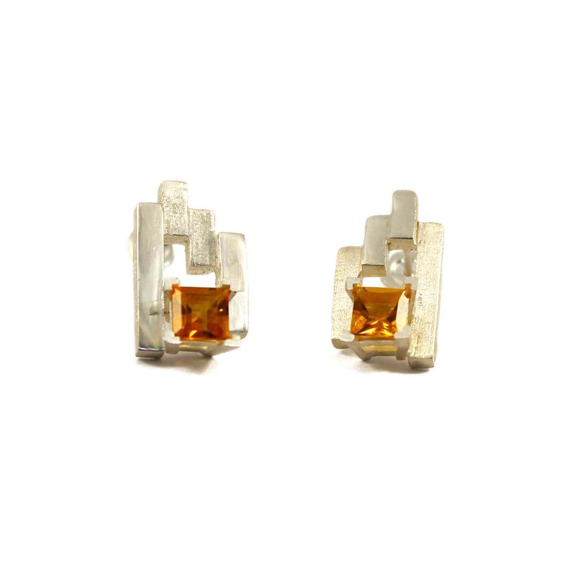 Silver SEVEN Stud Earrings With Citrine
