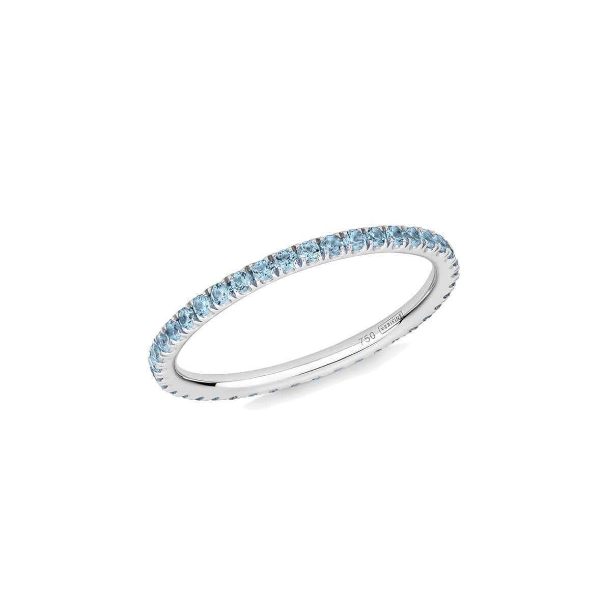 Blue Topaz Full Eternity Ring In 18kt White Gold