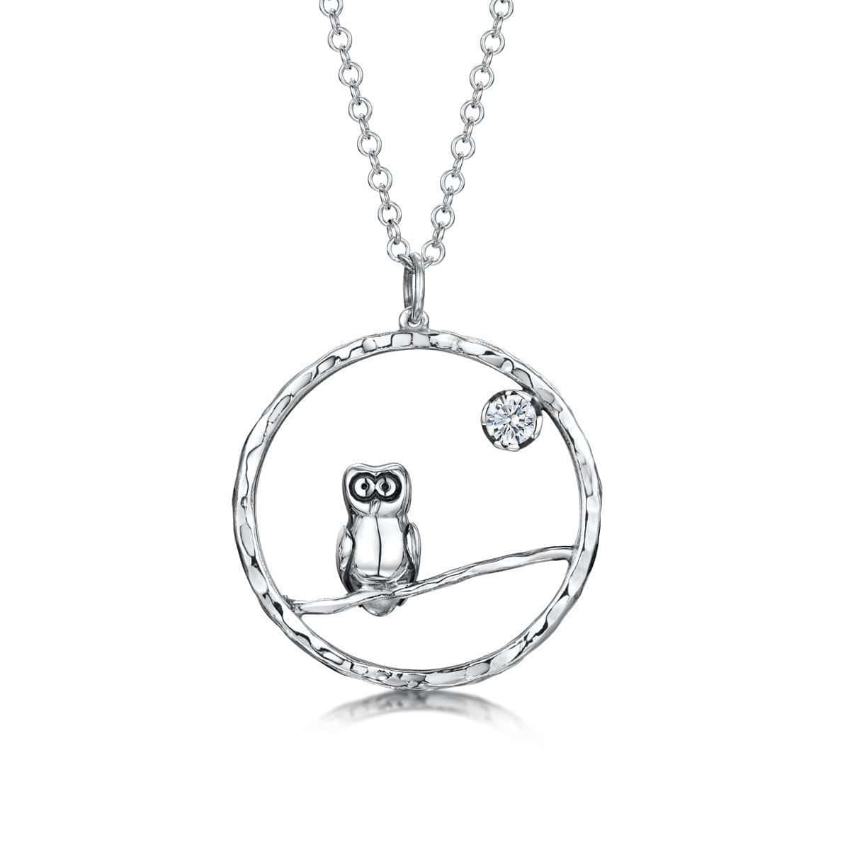Sterling Silver & Cubic Zirconia Owly Charm