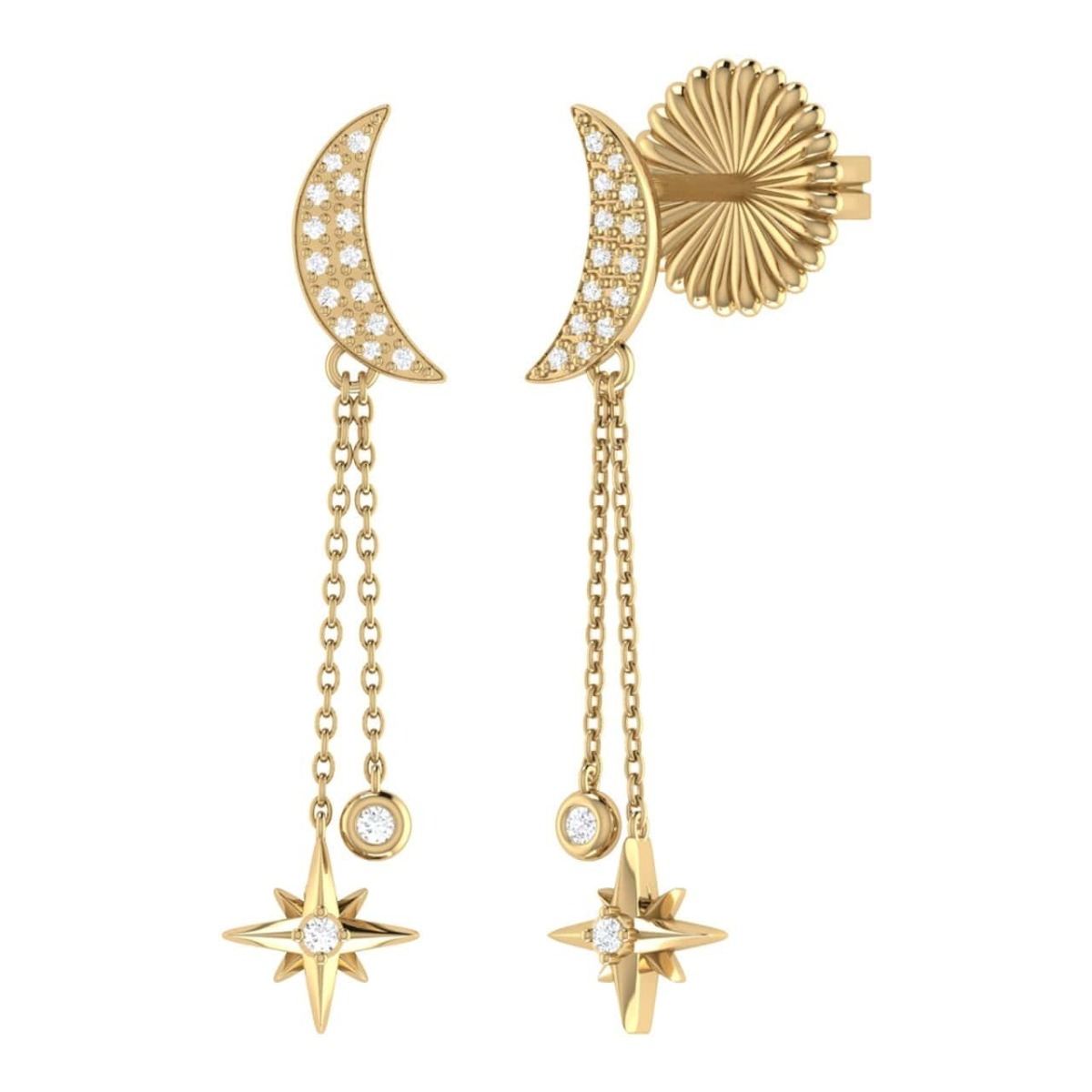 14kt Yellow Gold Plated Moonlit Drop Star Earrings