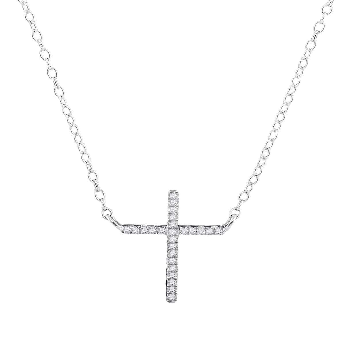 10kt White Gold Diamond Cross Necklace