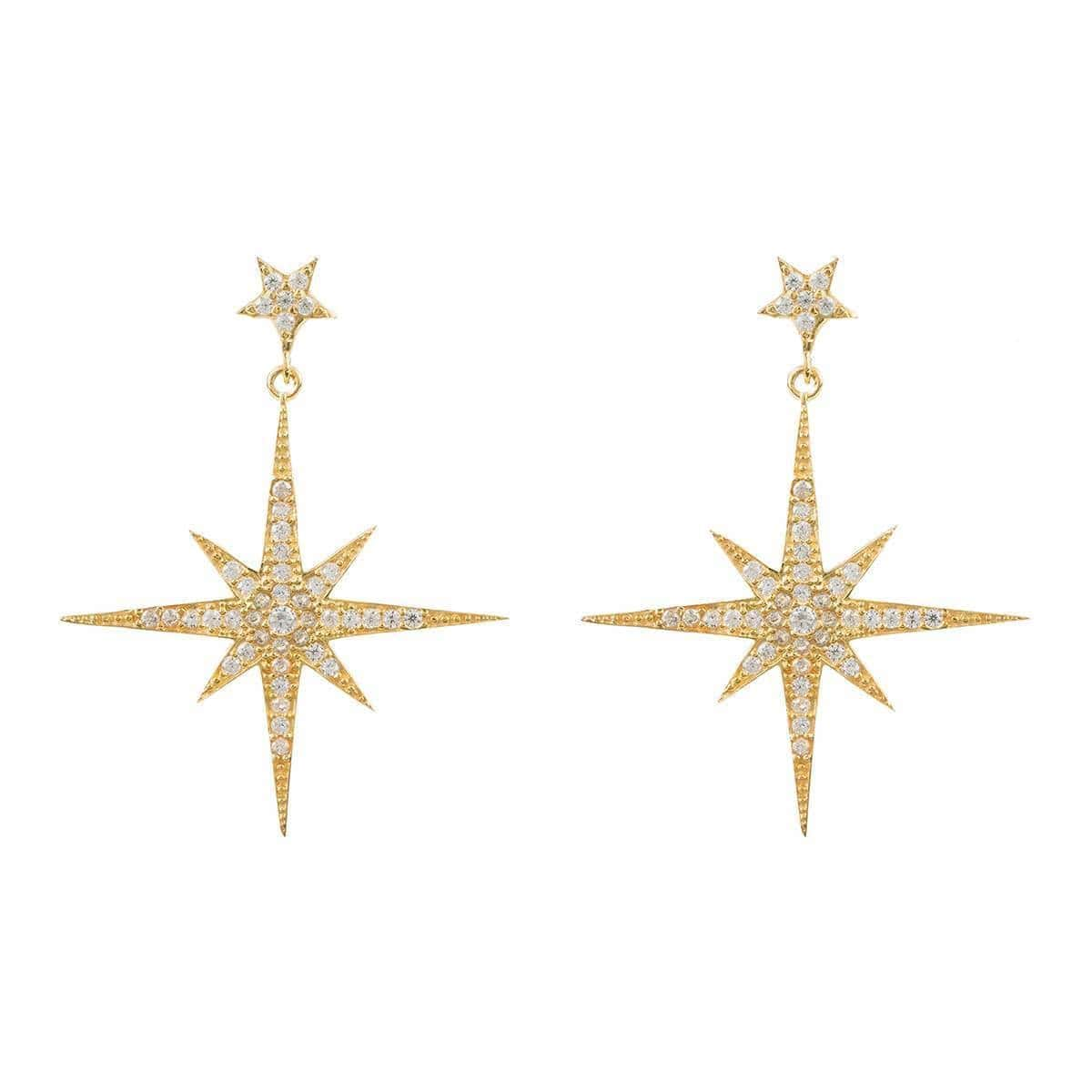 Yellow Gold Plated Star Burst Drop Earrings