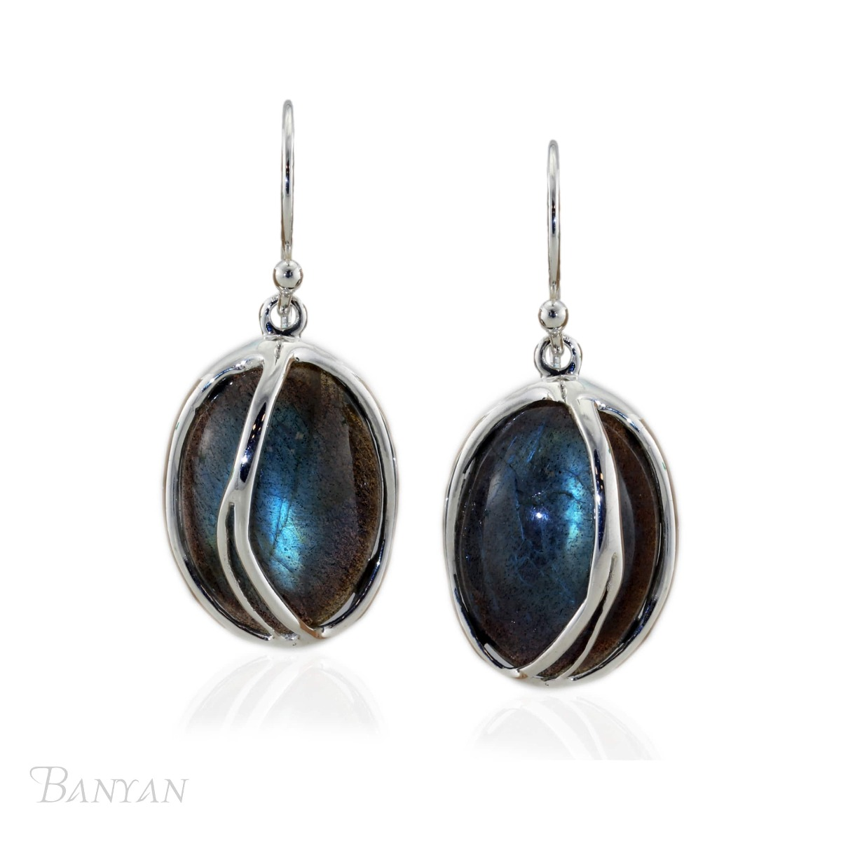 Silver Hand-Crafted Labradorite Earrings