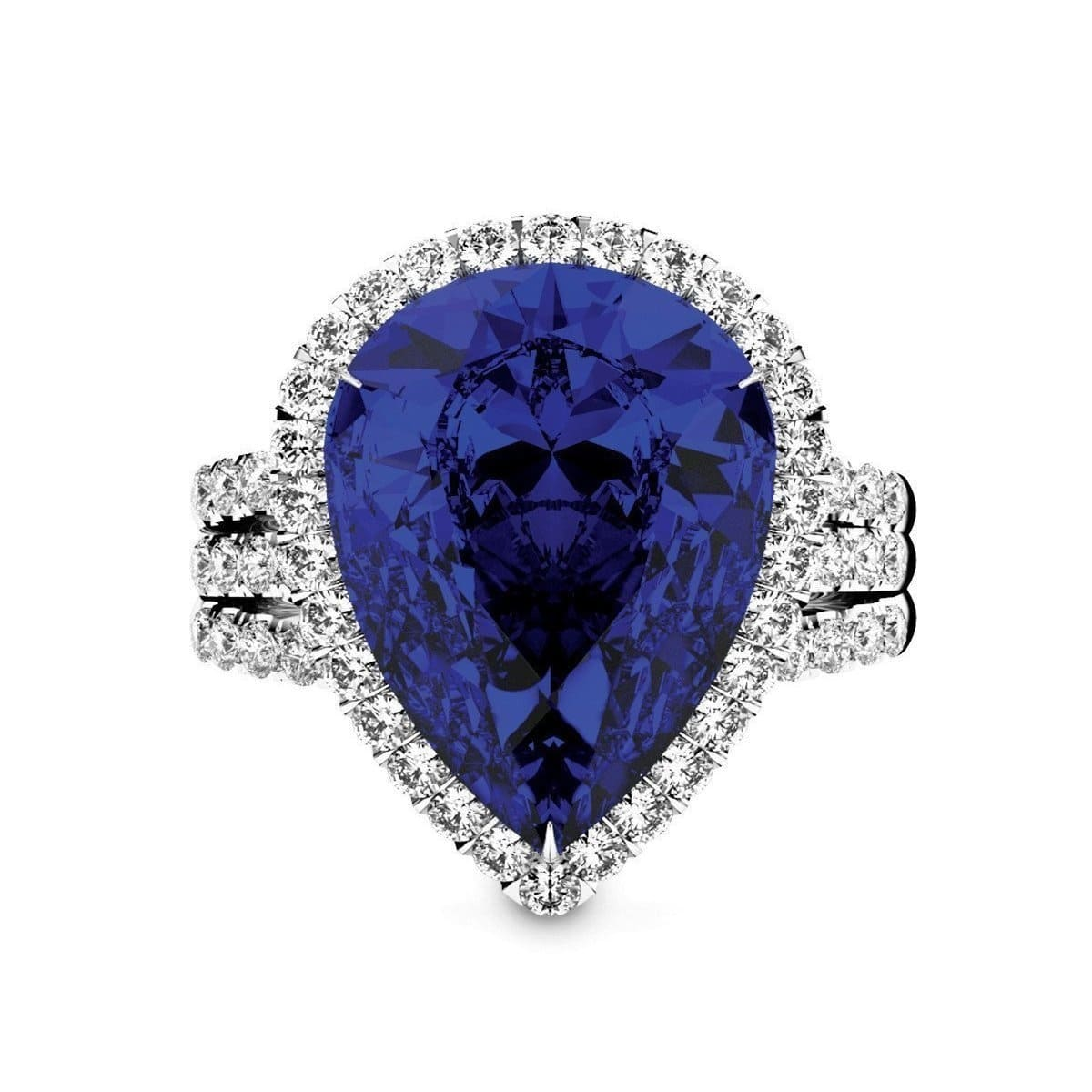 White Gold, Blue Sapphire & Diamond Cocktail Ring