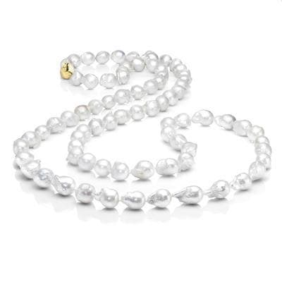 Les Trois Corniches White Baroque Pearl Rope Necklace - Gold Clasp
