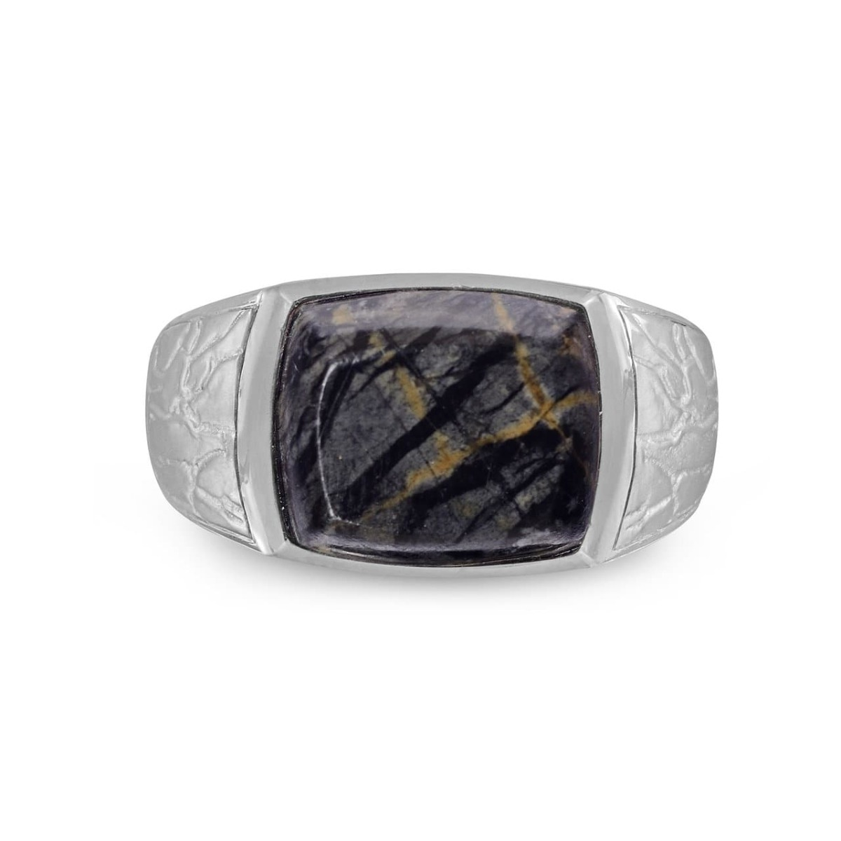 Grey Picture Jasper Stone Ring in Sterling Silver