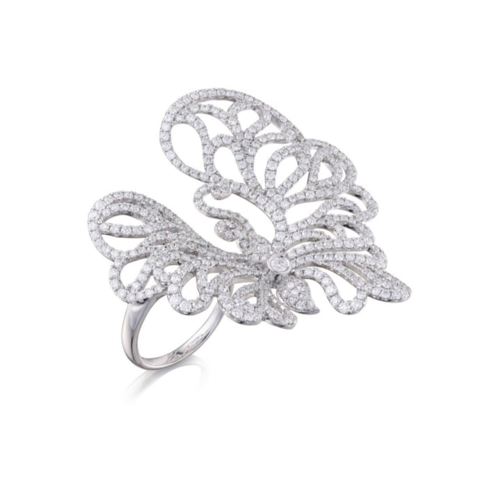 18kt White Gold Jardin Ring lll