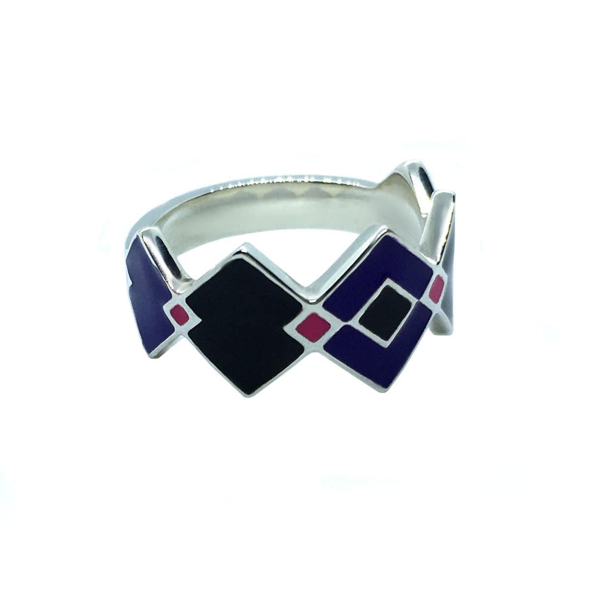 Bili Silver Squares Enamel Ring