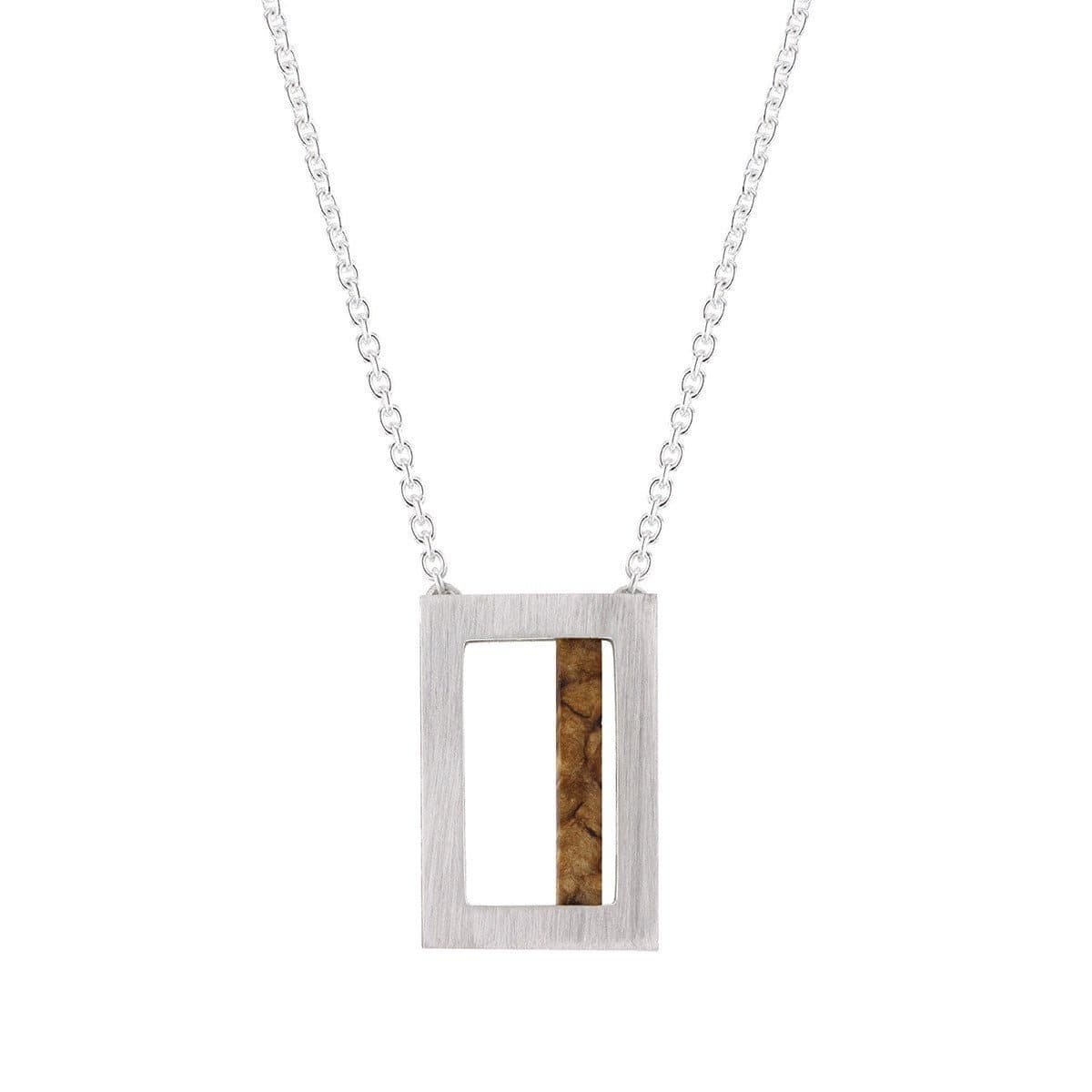 Silver Necklace With A Piece Of Birch And Cable Chain