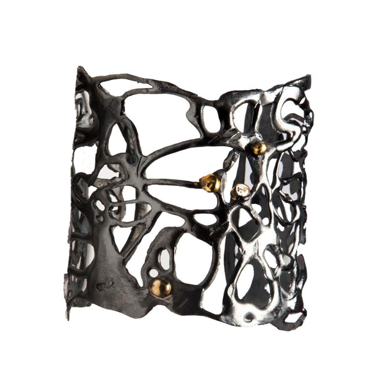 Oxidised Silver Botswana Fluidity Cuff Bracelet