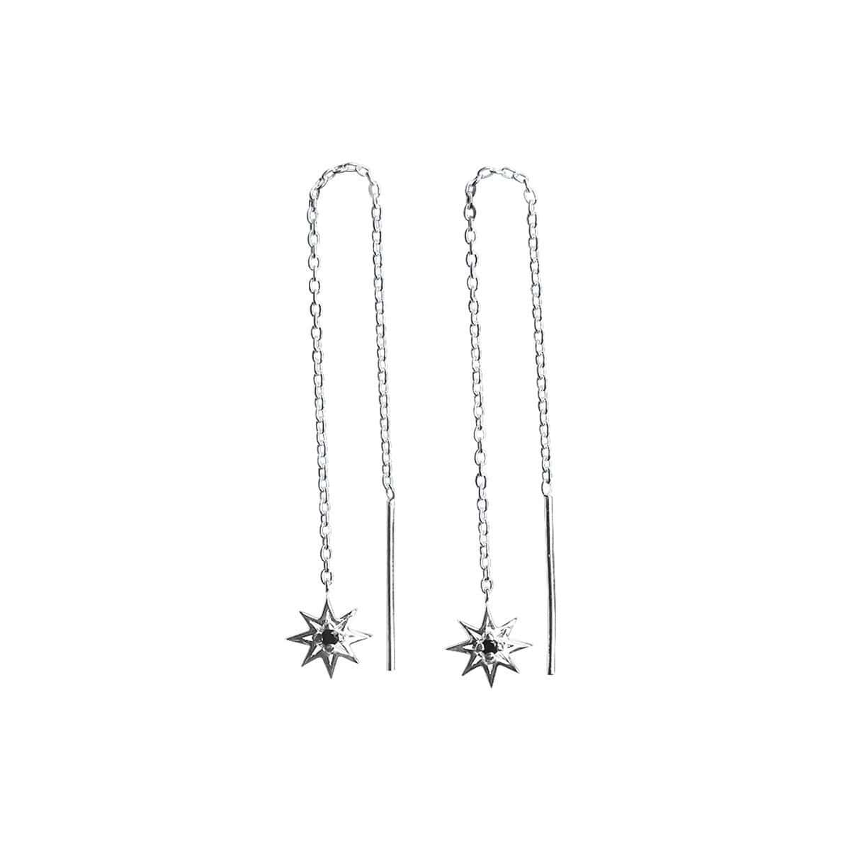 Sterling Silver & Black Spinel Falling Star Thread Earrings