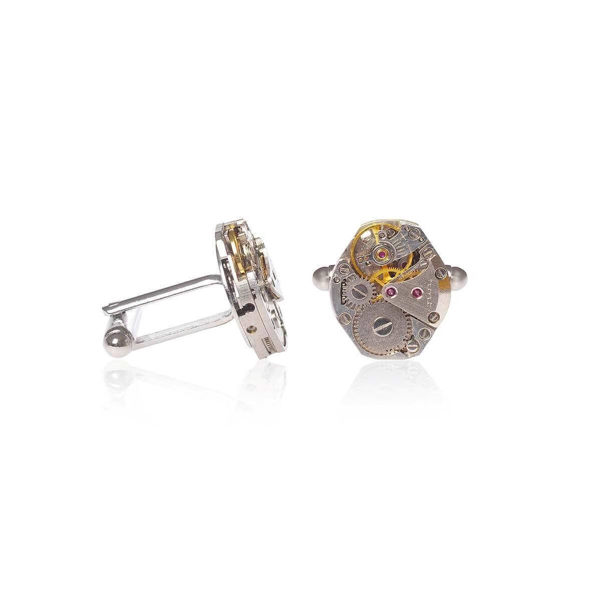 Silver Plated Brass Vintage Classic Watch Movements Cufflinks
