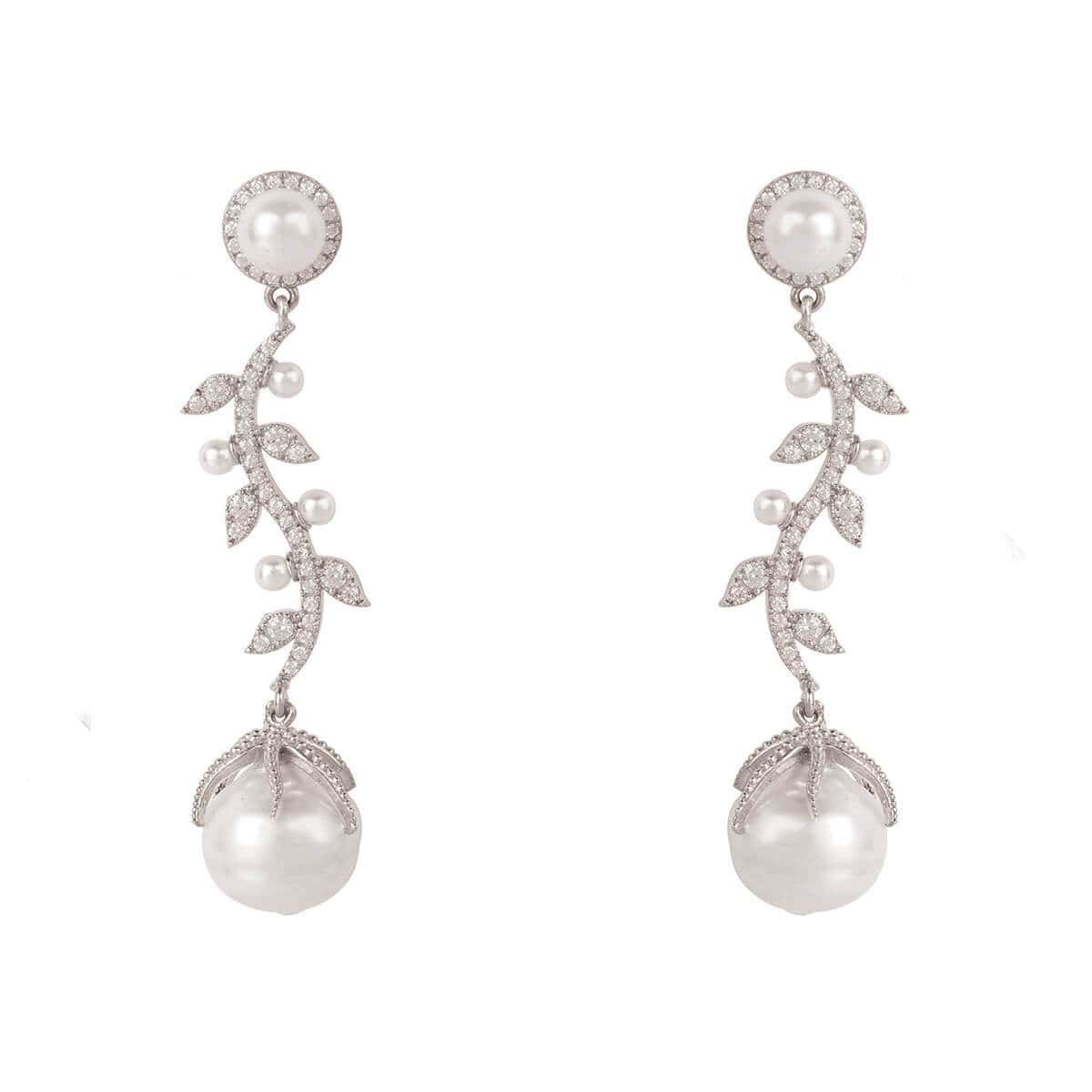 Rhodium Plated Baroque Pearl Trailing Flowers Earrings