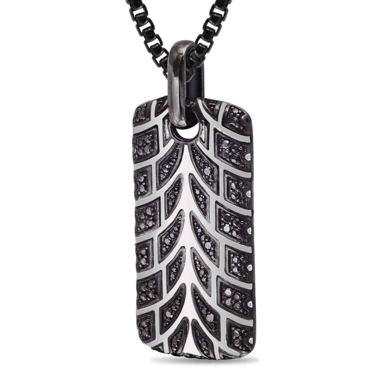 Rhodium Plated Sterling Silver Racer Swag Tire Tread & Black Diamond Tag