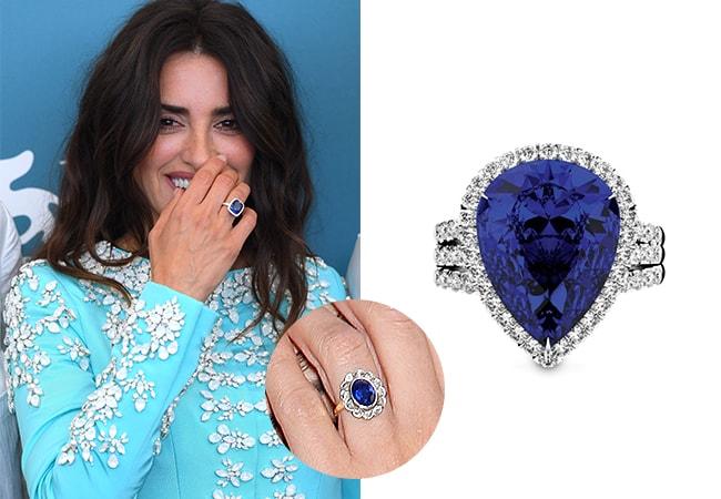 Penelope Cruz sapphire engagement ring