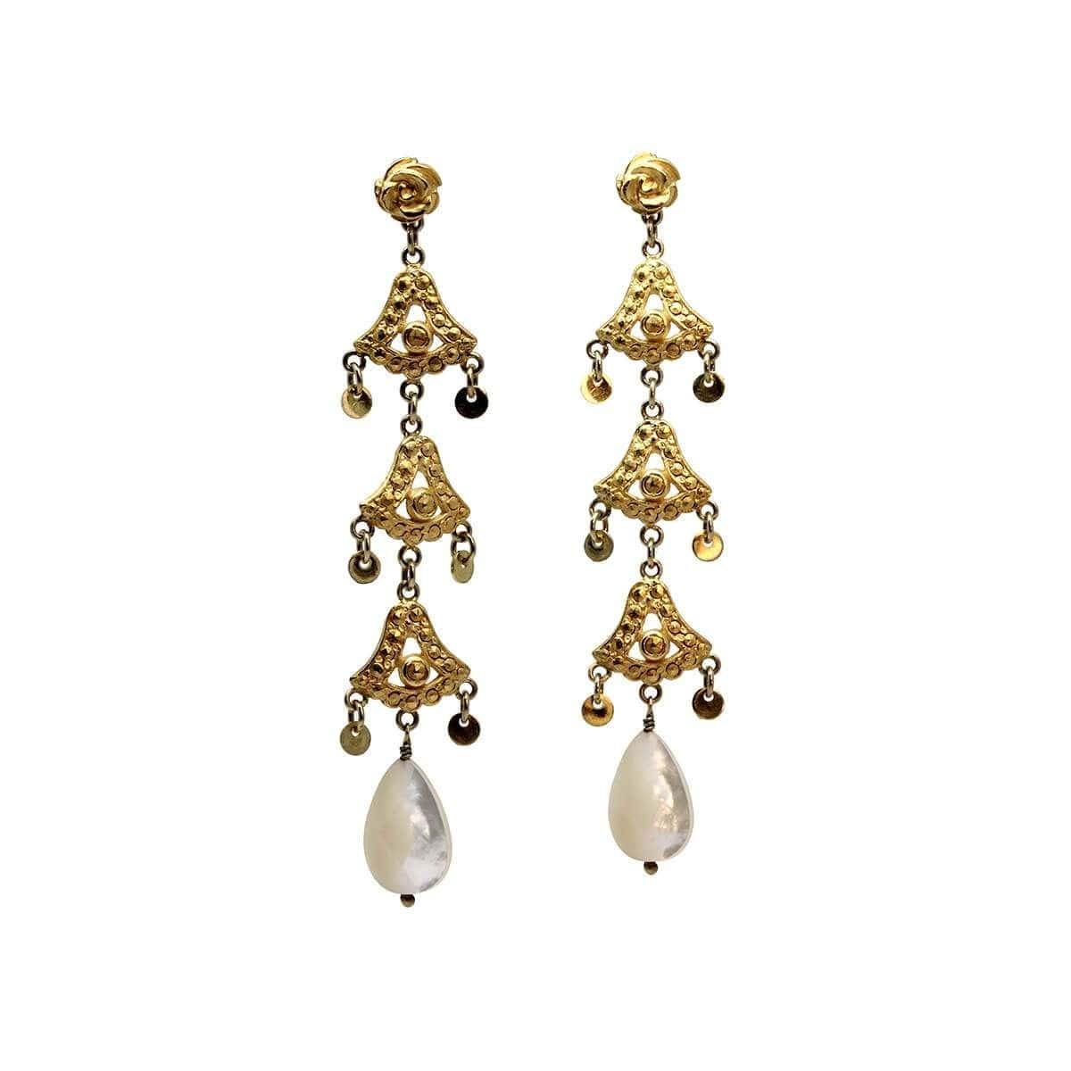 Gold pearl earrings vintage