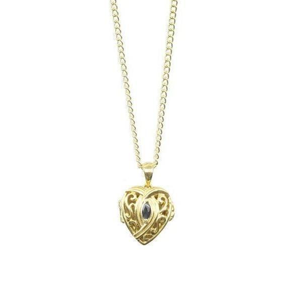 Gold sapphire locket vintage