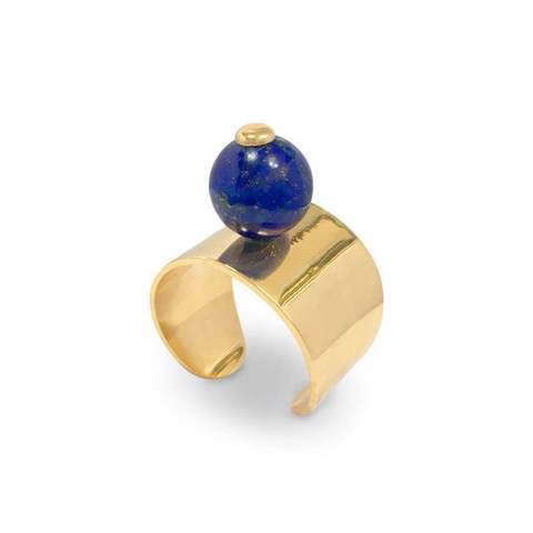 Yellow Gold Plated Lapis Lazuli Globe Ring