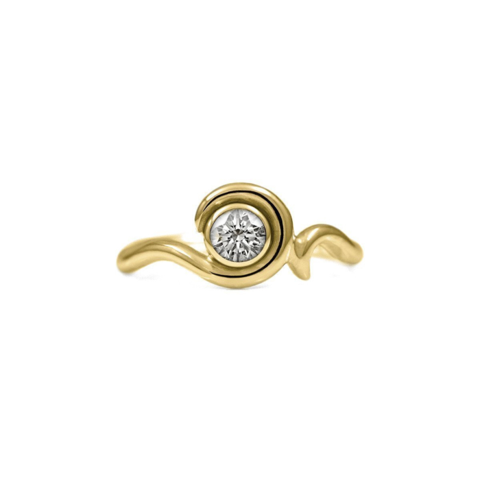 Entwine Solitaire Ring In Gold With Diamond