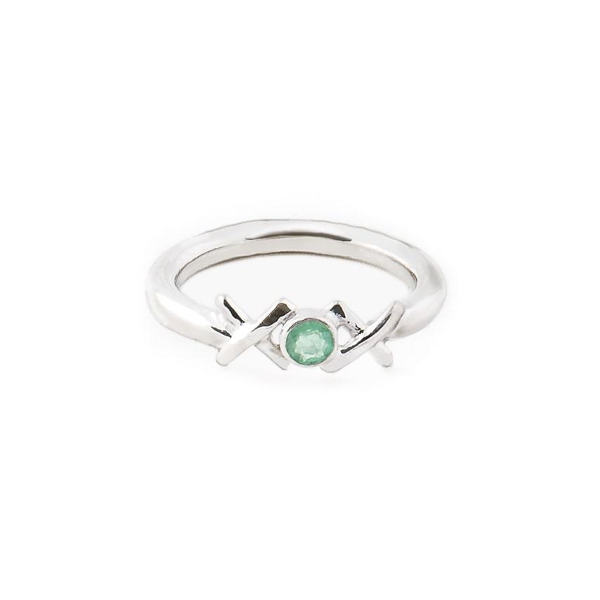 Sterling Silver & Emerald Kiss Hug Kiss Ring