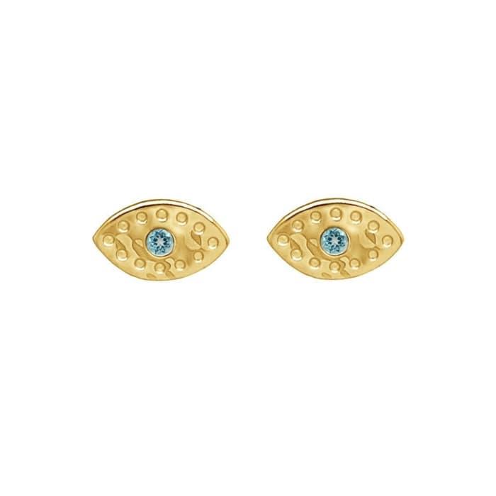 Gold & Topaz Evil Eye Stud