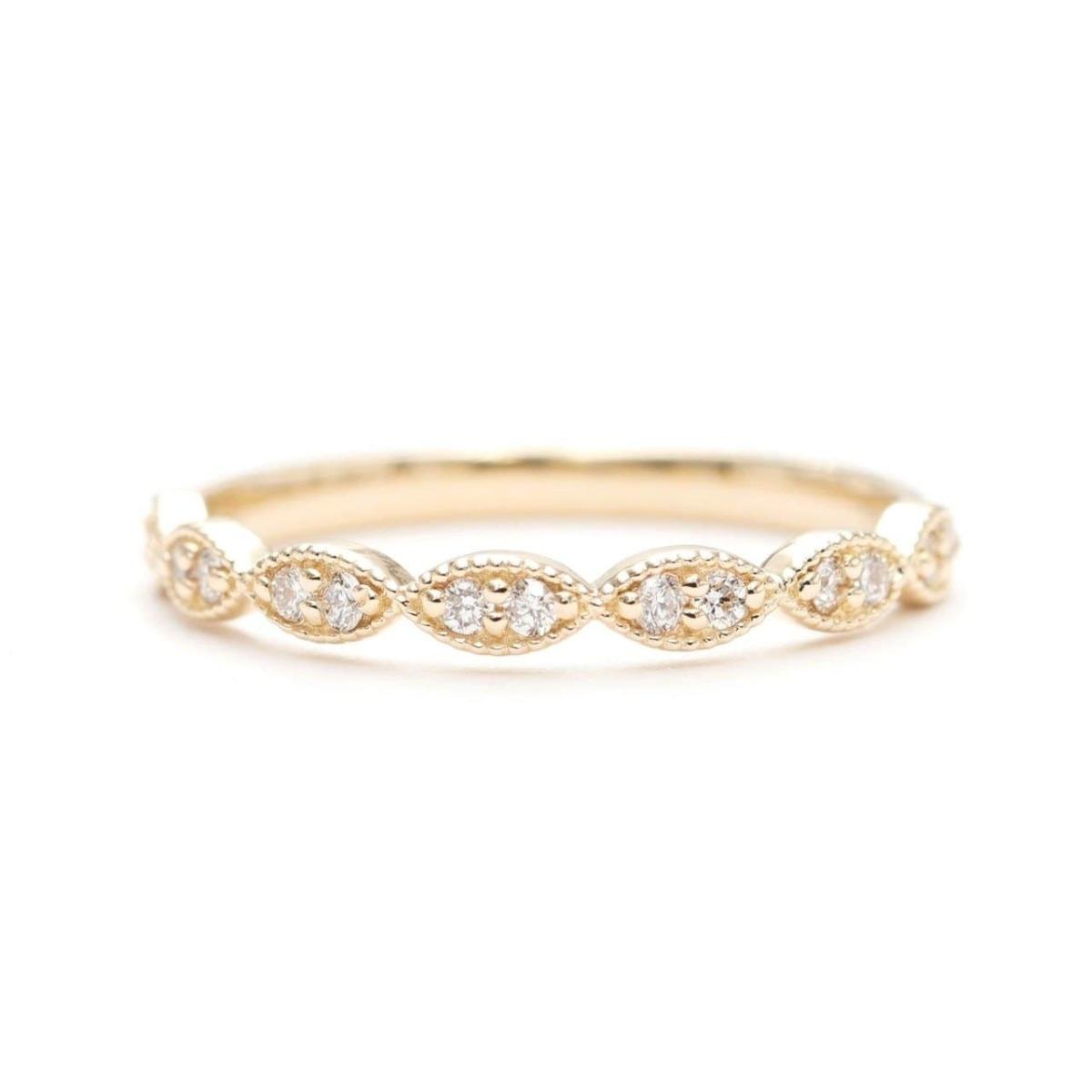 14kt Gold Half Eternity Diamond Stacking Wedding Ring