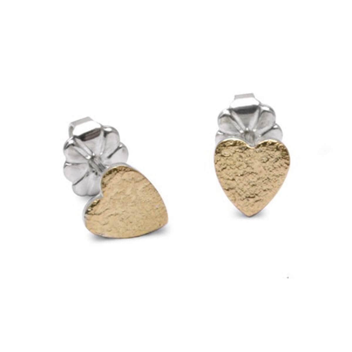 Silver & 18kt Yellow Gold Crunkle Heart Earrings