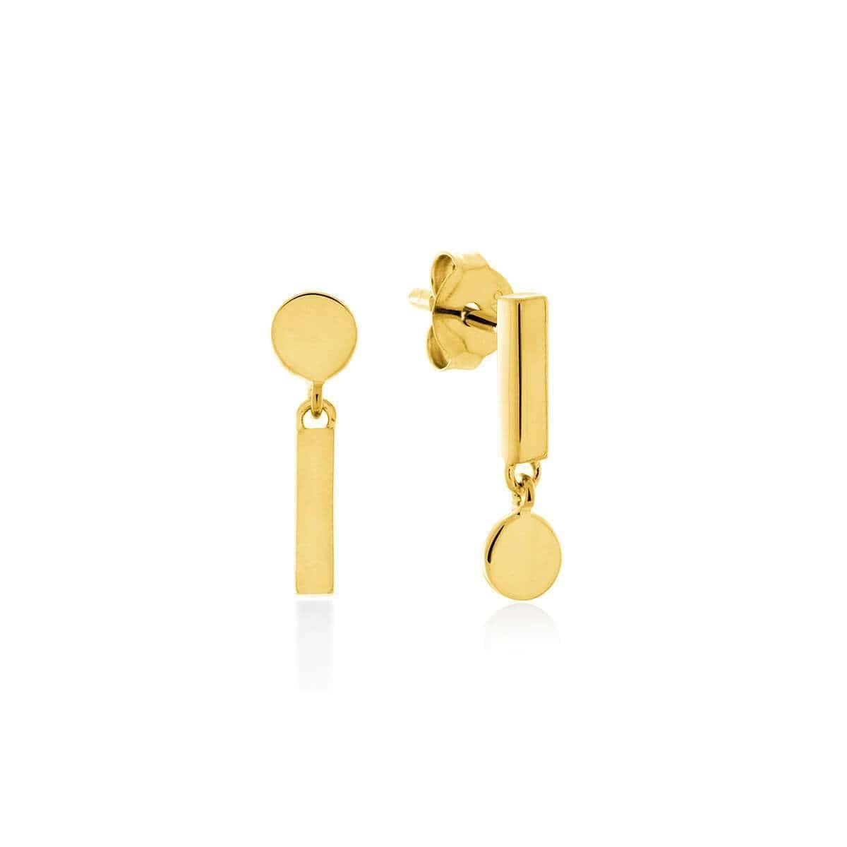 Yellow Gold Plated Flip Reverse Earrings
