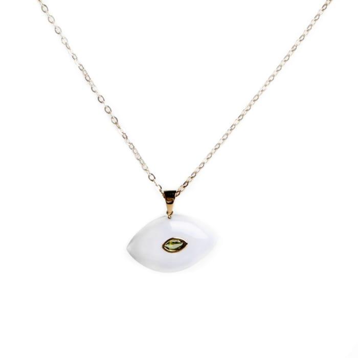 18kt Rose Gold Large Carved Evil Eye Necklace