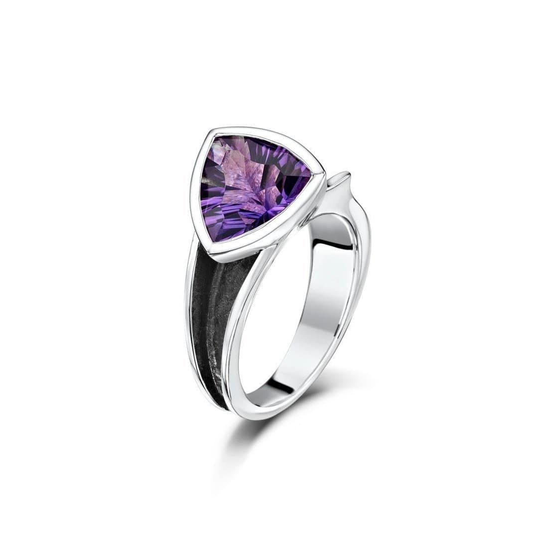 Oxidised Sterling Silver & Amethyst Ring
