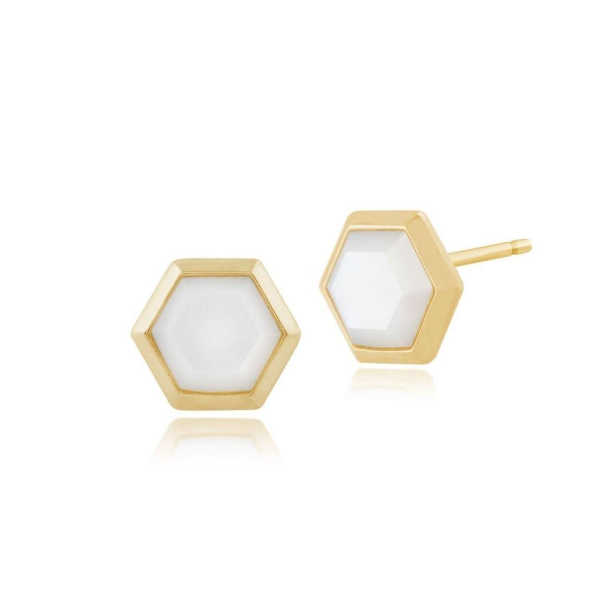 Gemondo Mother of Pearl Hexagon Stud Earrings